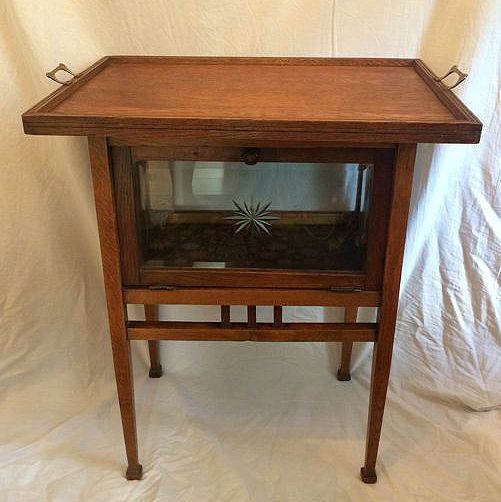 Oak tea cabinet with cut glass and loose tray - Holland - circa 1930