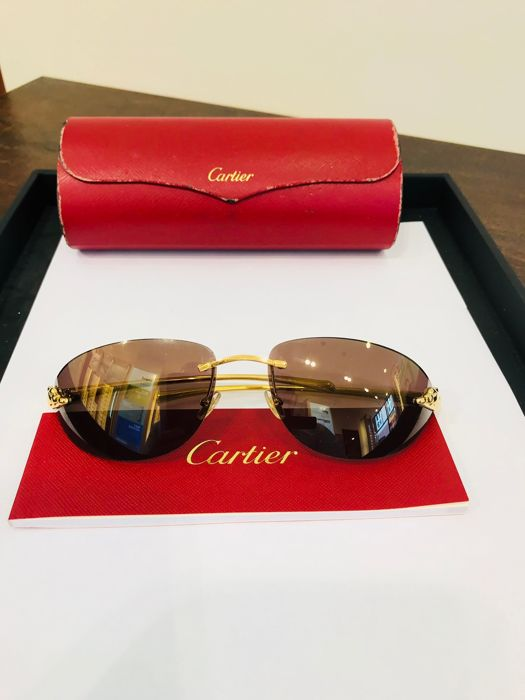 0f8bab4f7b0fd Cartier - CARTIER PANTHERE 18K GOLD Sunglasses - Catawiki