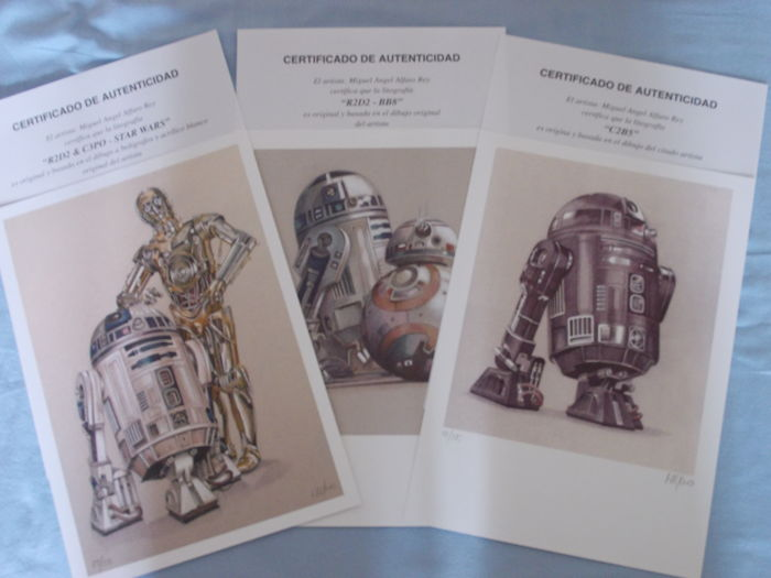 3 superb 21/29.7cm lithographs from star wars droids from miguel angel alfaro rey; spain , contemporary .