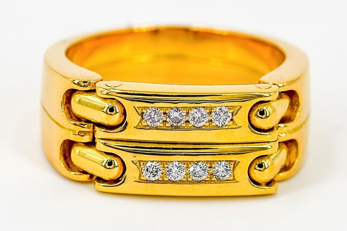 Pequignet - 18 kt yellow gold ring - diamonds - size: 61