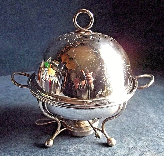 Antique and beautiful serving dish with burner and domed lid, ca. 1900
