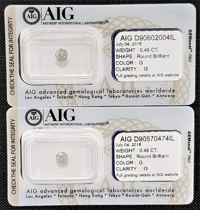 0.92 ct - Pair of Natural White Diamonds - G Color - I3 - NO RESERVE!