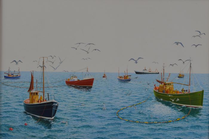 Robinson. (20th century) - Various fishing boats at sea.