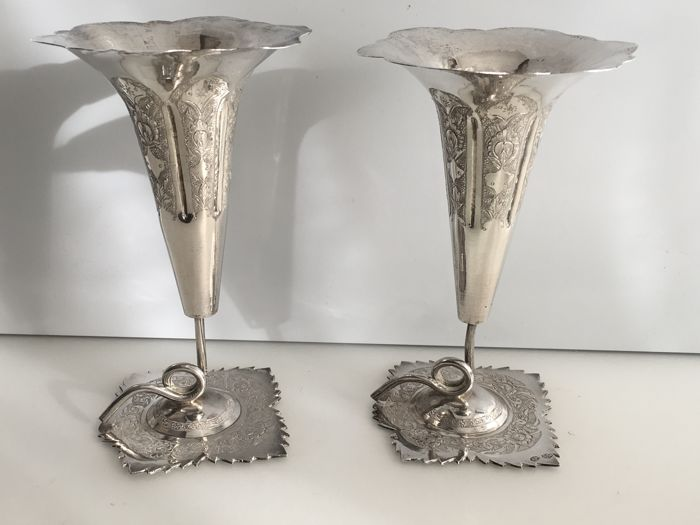 Pair of Persian - Iran silver vases possibly Esfahan province. Persia - Iran c- 1900/1940. VERDY ( Maker )