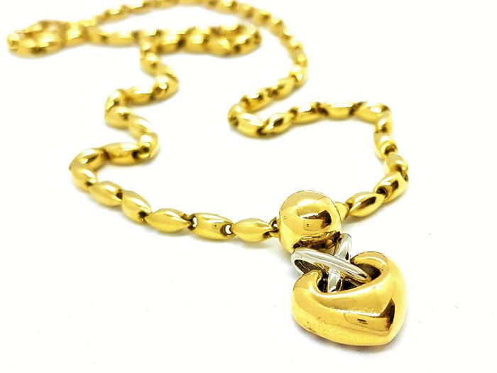 Chimento - Necklace - Heart pendant - 18 kt yellow and white gold - Size: 42 cm