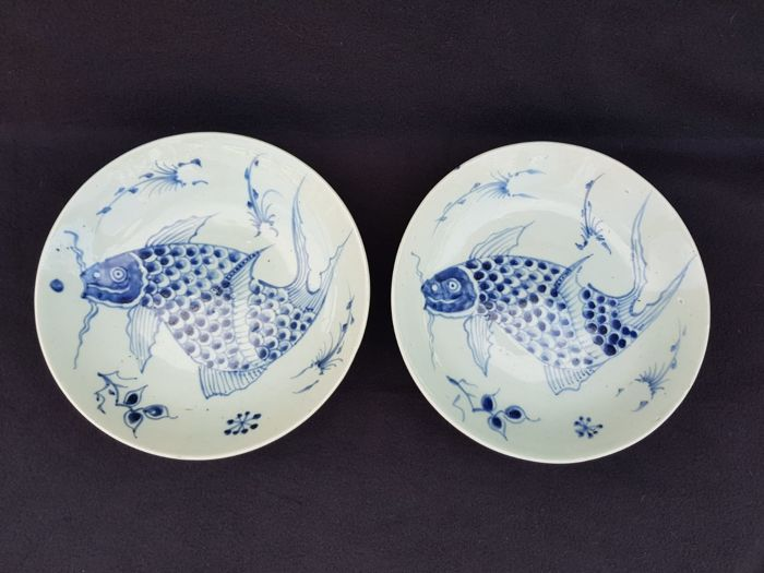 Lot of 2 plates with images of koi carps - China - 19th century