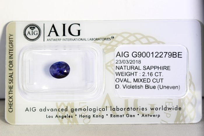 Sapphire - 2.16 ct - Deep Violetish Blue - * NO RESERVE PRICE *