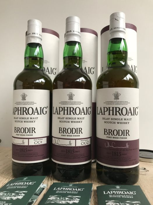 3 bottles - Laphroaig Bodir Port wood finish - batch 1, 2 & European Travel exclusive