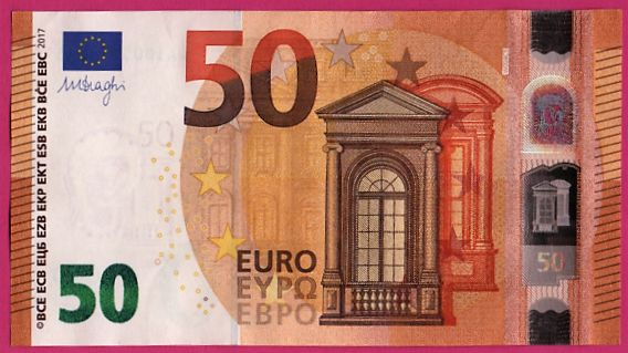 European Union - Germany - 50 Euro 2017 - WA - DRAGHI - ERROR - Reverse White strip