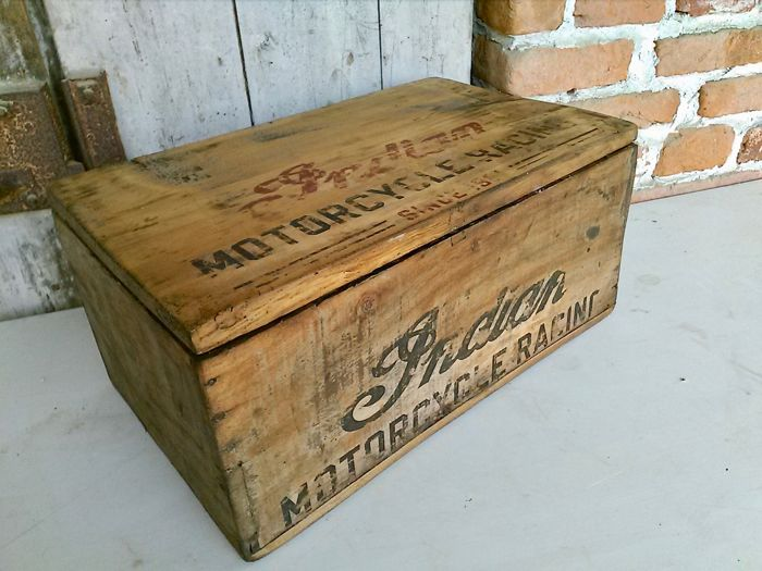 Old wooden chest with INDIAN prints on top and front