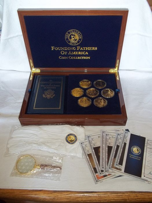 Franklin Mint - Founding Fathers of America Coin Collection - 24 Carat gold plated - Mint condition.