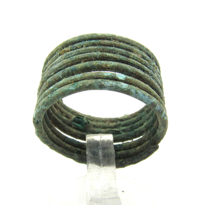Medieval Viking Era Brons Coiled Snake Ring - 1.8cm
