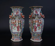 Set of hexagonal porcelain vases - China - 19th century (Daoguang period)