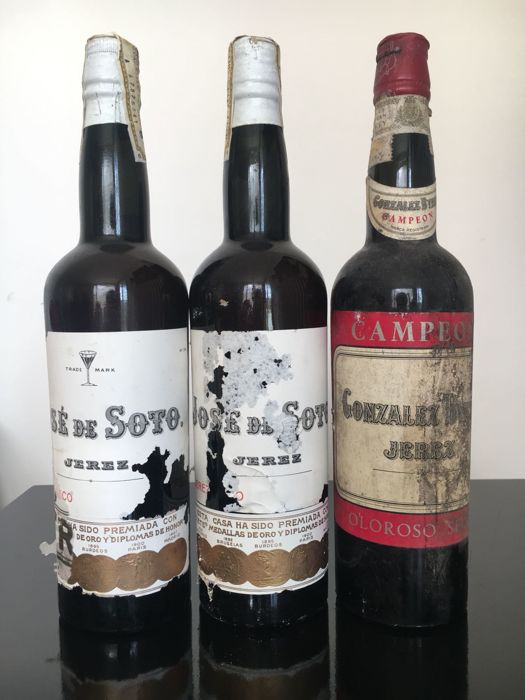 "Sherry: 2x NV Jerez Seco - Jose de Soto & NV Oloroso Seco Gonzalez Byass ""Campeon"" - 3 bottles in total"