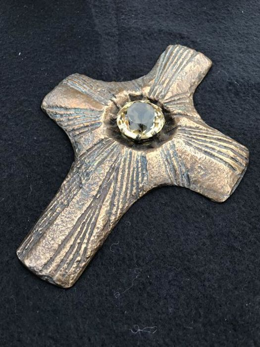 Very old bronze cross with beautiful citrine