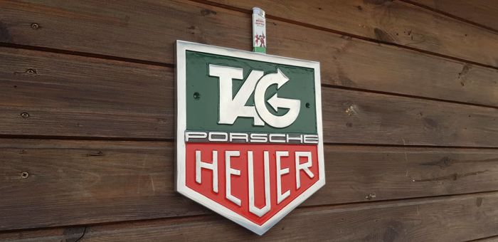 Porsche Tag Heuer Racing dealer aluminum plate sign workshop or office