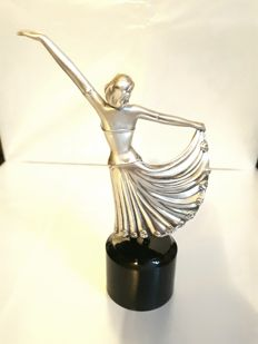 Ballerina, in rolled silver, by Ottaviani, from the 1980s + Dalmatian dog, in rolled silver, by Ottaviani, from the 1980s