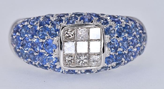 3.44 Ct Sapphires with Diamonds, Princess ring NO RESERVE price!