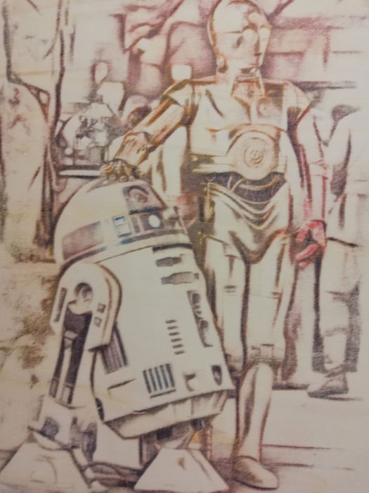 R2-D2 and C-3PO - Original Artwork on a wooden plate - measurements 29,8 x 42cm - Artist Emma Wildfang