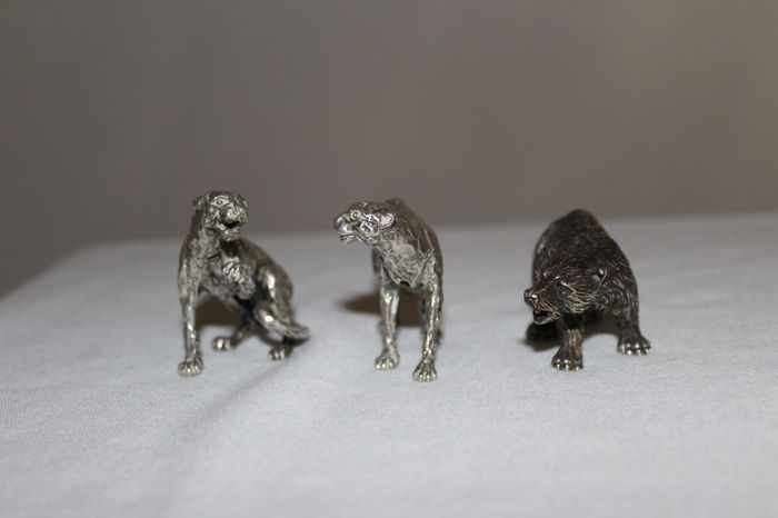 Three miniature of animals in silver 800 - Italy, second half of the 20th century