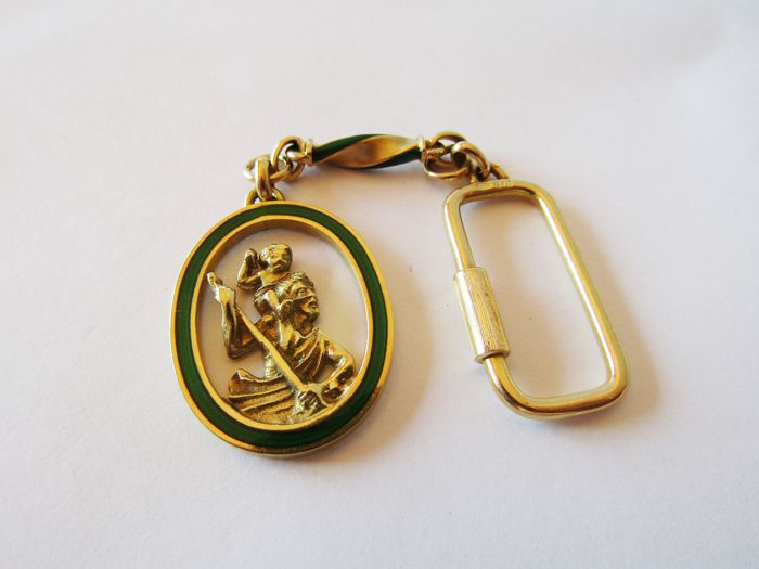 Keyring in solid 18 kt gold - Ferryman - Measurements 110 x 29 x 4 mm