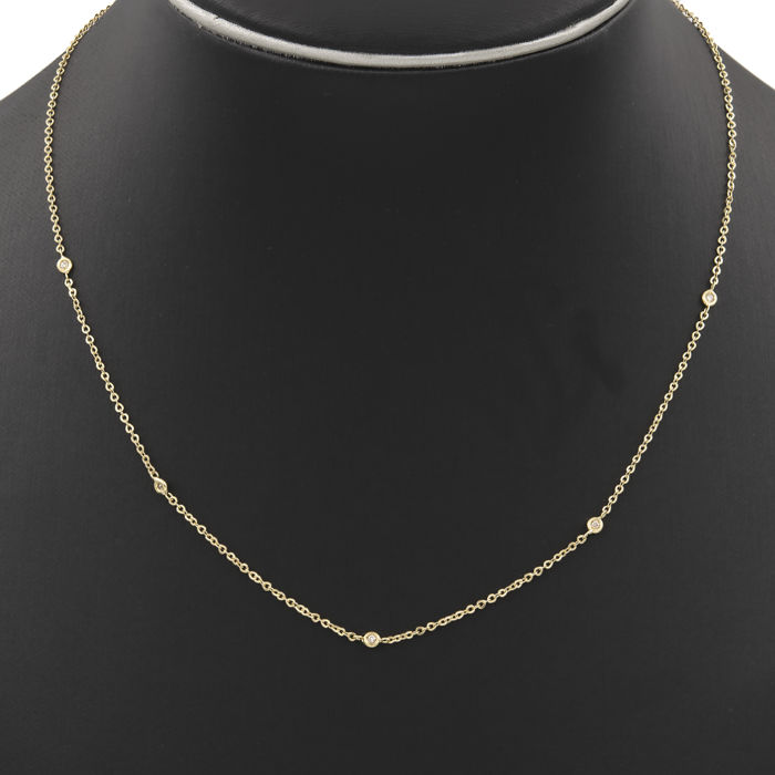 Yellow gold of 18 kt - Choker - Diamonds of 0.10 ct  - Necklace length: 44.00 cm (approx)