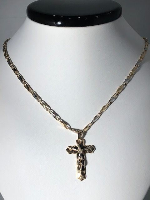 18 kt yellow gold choker necklace and cross - 50 cm