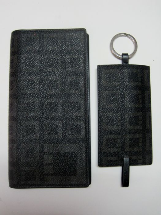 Vintage S.T. Dupont Leather Credit Card Wallet and Key Holder With the Same Pattern for sale