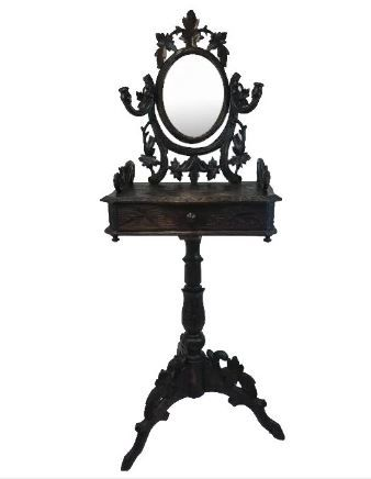Black Forest walnut dressing table with mirror and candlesticks - Germany - Ca. 1890