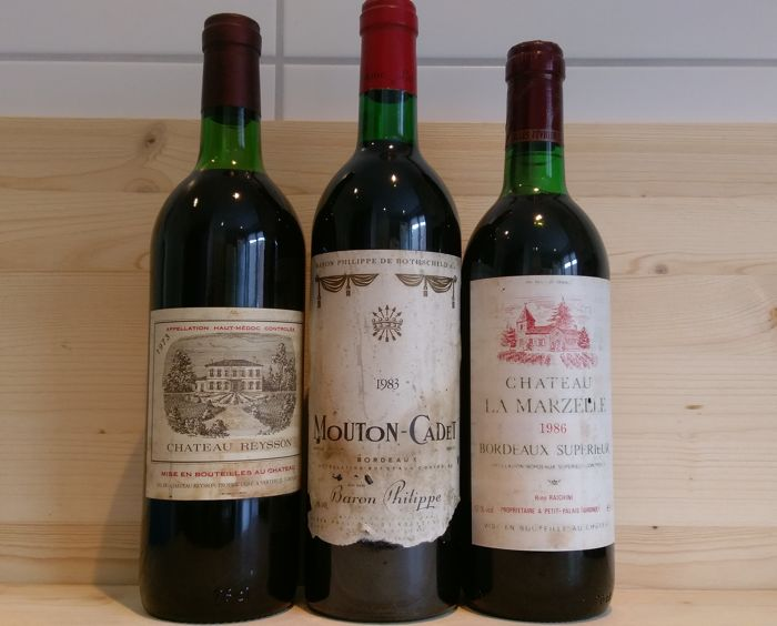 1973 Chateau Reysson Haut Medoc x 1 bottle - 1983 Mouton Cadet Bordeaux Rothschild x 1 bottle - 1986 Chateau La Marzelle Bordeaux Superieur x 1 bottle / total 3 bottles (75cl)