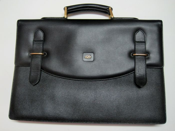 Vintage S.T. Dupont Paris Black Briefcase - Made in France