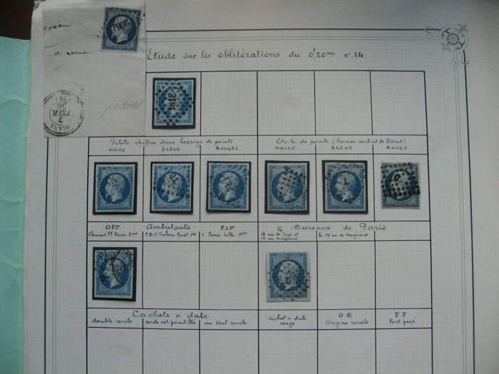 France 1854 - Study of cancellations on classical stamps - Yvert 14