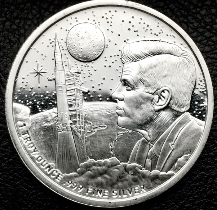 USA - 1 oz 999 Silver Medal USA Moon Landing Apollo 11 Neil Armstrong - J.F Kennedy
