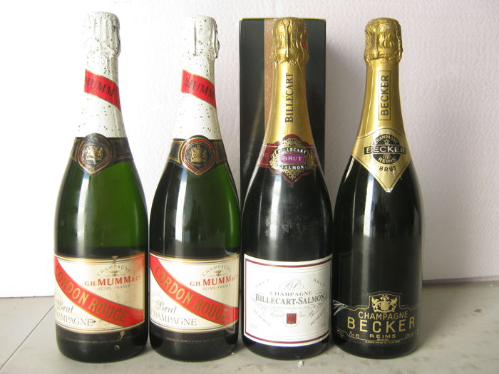 2x Champagne G.H Mumm 'Cordon Rouge' & Champagne Brut Becker & Billecart Salmon Brut Reserve with box - 4 bottles 75cl.