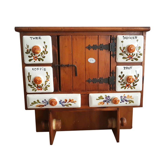 Old Wooden Spice Rack With Drawers 2nd Half Of 20th Century Catawiki