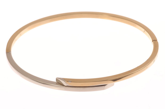 14 kt bicolour gold bangle - Hinged clasp - 60 x 53 mm