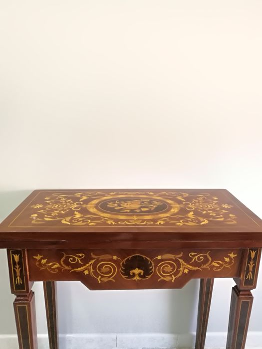 Antique console/game table with Sorrento inlay - revival of the Louis XVI style - early 20th century
