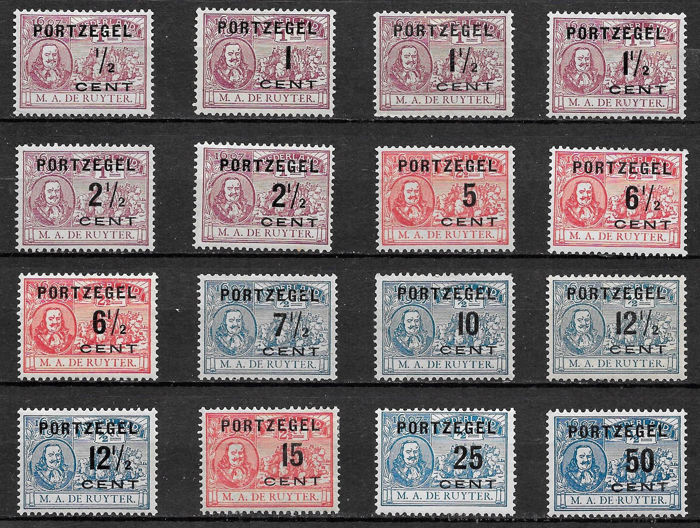 Netherlands 1907 - Postage stamps De Ruyter, in which variants