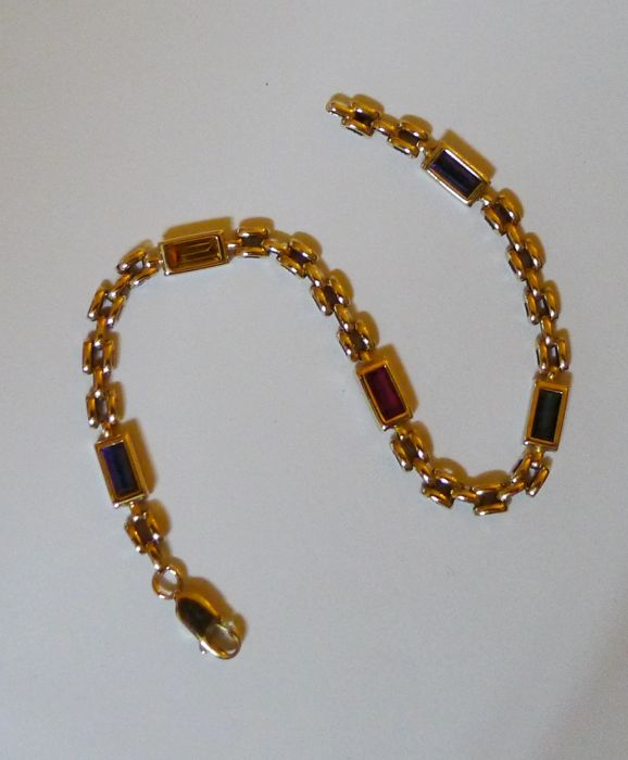 Italian 14 kt yellow gold link bracelet with various gemstones of approx. 3.25 ct - 20 cm  *** No minimum price ***