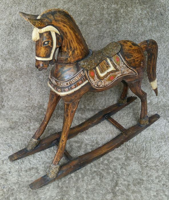 Big Rocking Horse - Handcrafted Wood - Asia 1970s