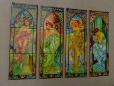 Alphonse Mucha - The Times of the Day Series -  Large Tile Panel Reproduction ( 60 x 45 cm )