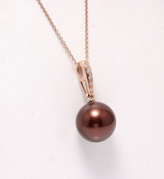 18 kt. Rose Gold - 10x11mm Chocolate Tahitian Pearl  - Necklace with pendant - 0.04 ct