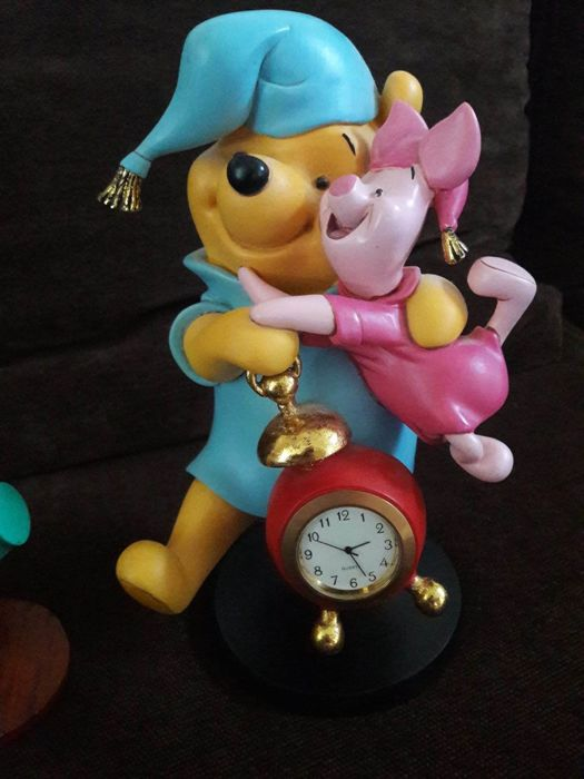 Disney - Figure with working clock - Winnie the Pooh and Piglet