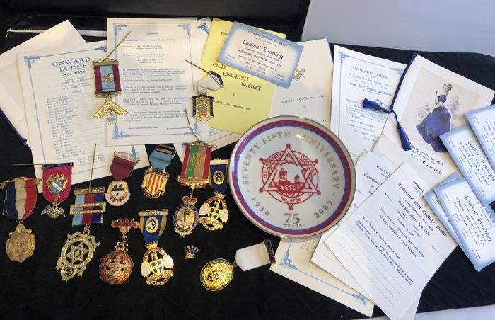 massive collection of vintage Masonic medals badges pins mason papers plate