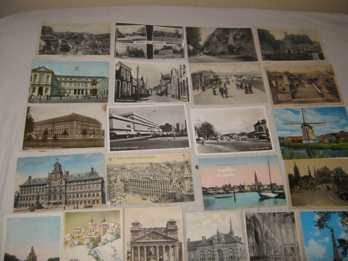 vintage postcards virtually all from the Netherlands 1910 / 1945 and dutch cities and villages 80 pieces