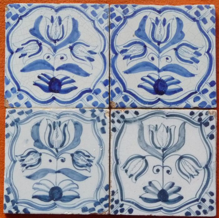 Tableau of Four Three-Headed Tulip Tiles in Blue and White