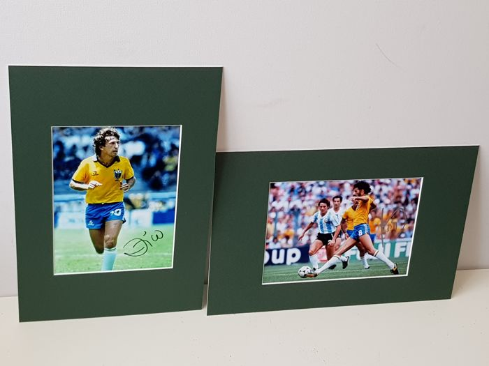 Zico, and Socrates - Brazil football legends- 2 hand signed photo's in professional passepartout + COA