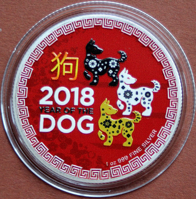 Niue - 2 Dollar 2018 - Year Of The Dog - Colorized - 1 Oz - Zilver