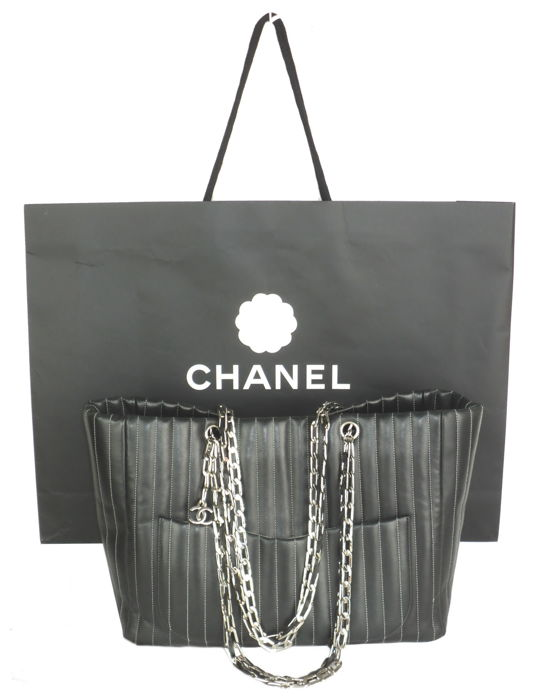 88c6bd4c3983 Chanel - Mademoiselle Vertically Quilted Large Shopper Tote Shoulder Bag  with CC logo Charm.