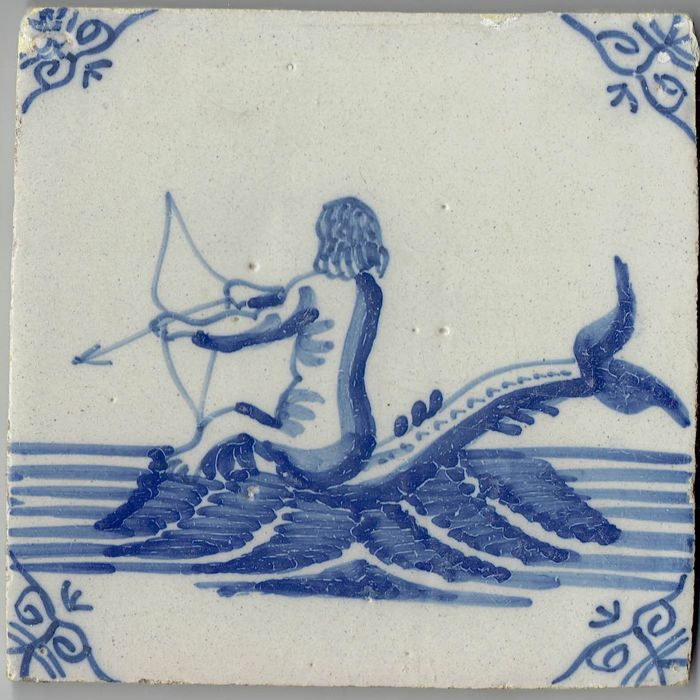 Gorgeous 17th century tile with a depiction of a sea creature - Intact